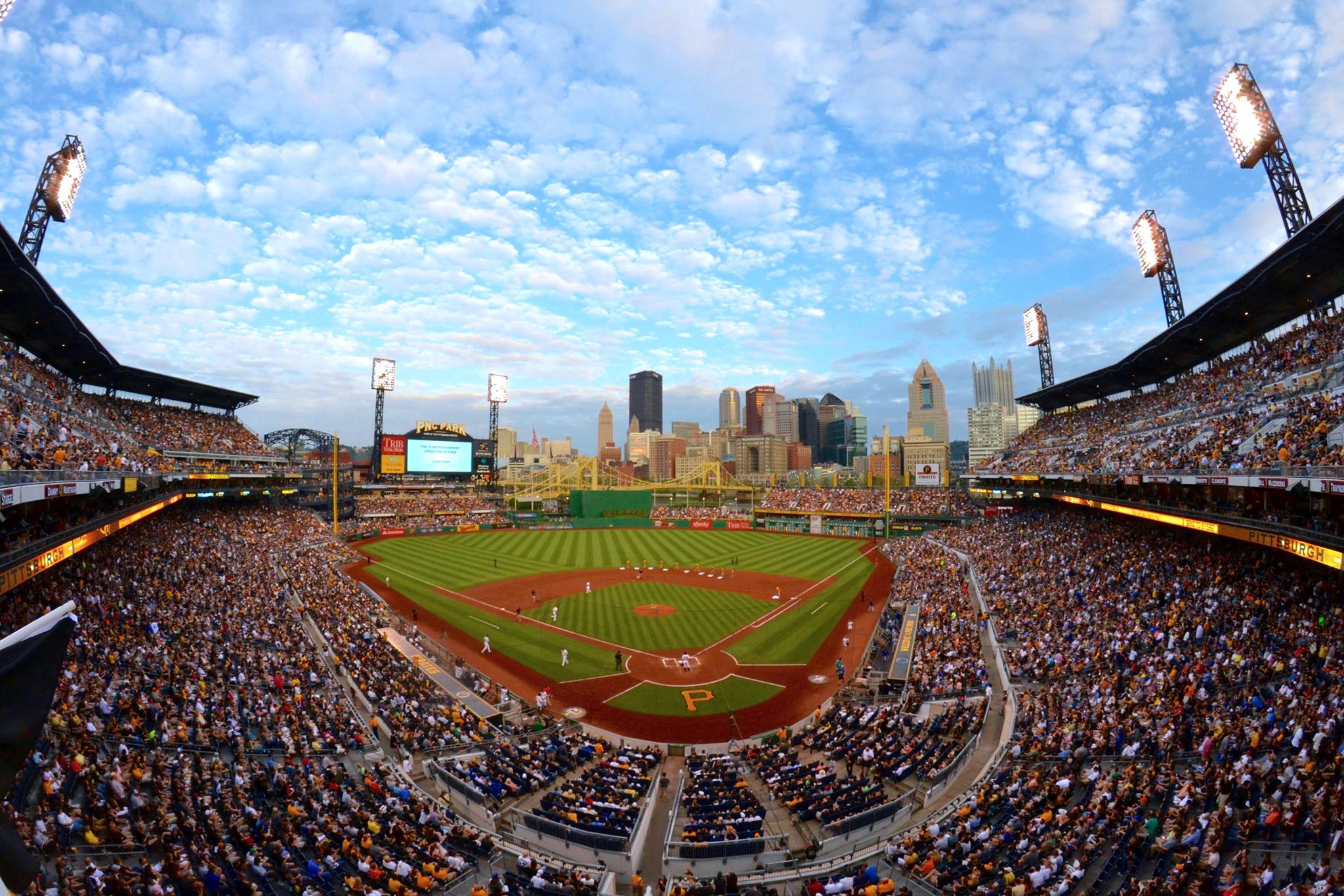 PNC Park, home to the Pirates, looks out on downtown Pittsburgh.